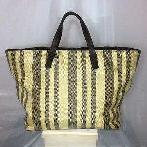 Cole Haan Striped Leather Straw Large Tote